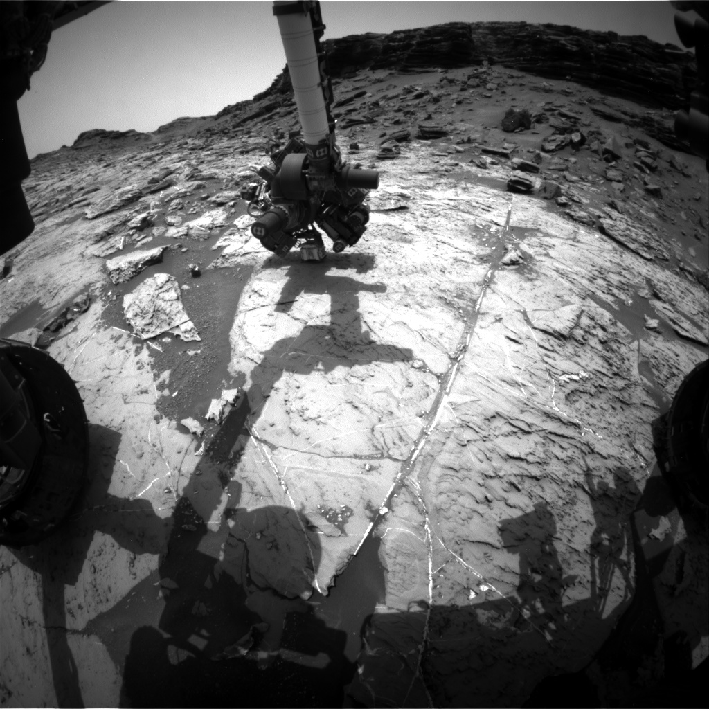 Nasa's Mars rover Curiosity acquired this image using its Front Hazard Avoidance Camera (Front Hazcam) on Sol 1458, at drive 2798, site number 57