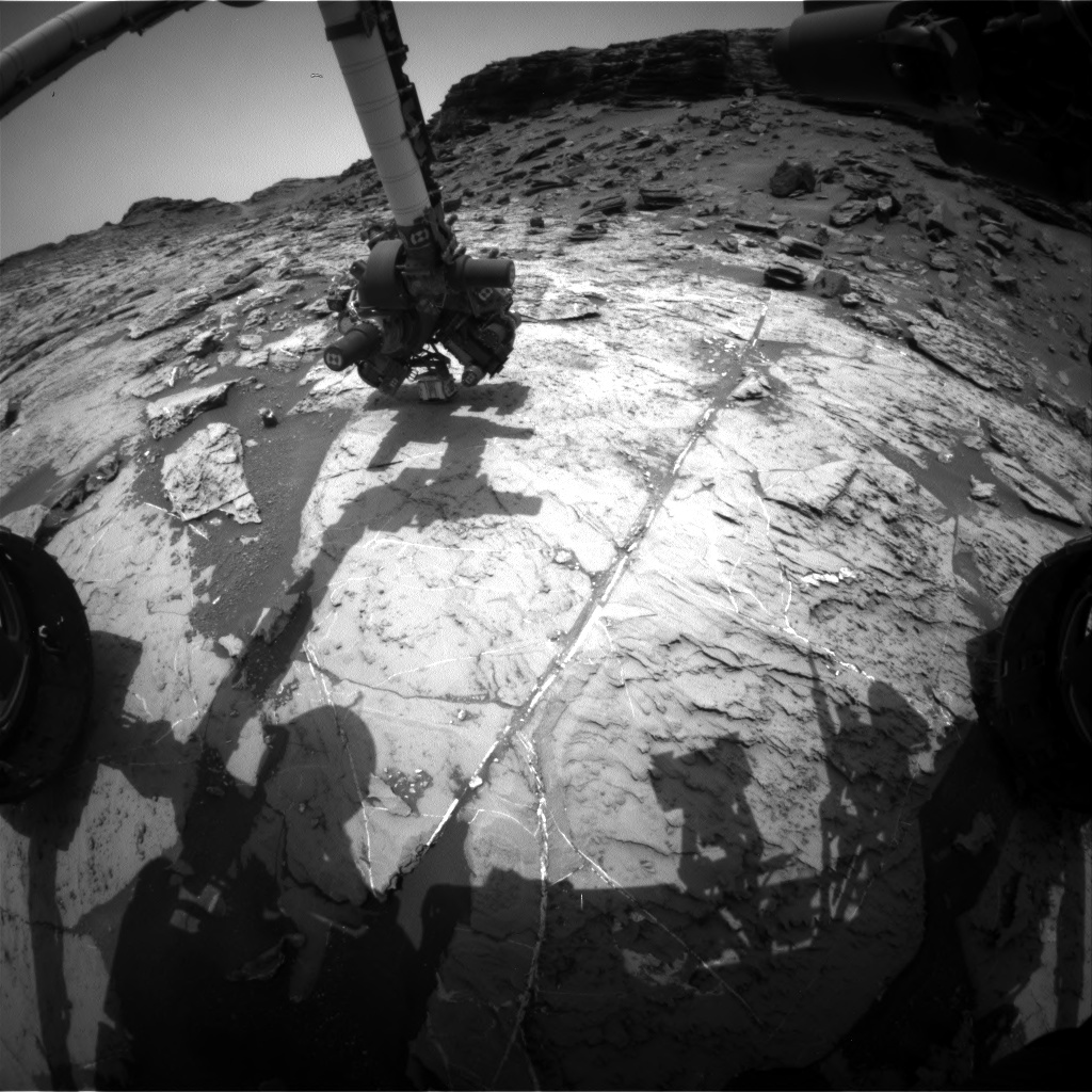 Nasa's Mars rover Curiosity acquired this image using its Front Hazard Avoidance Camera (Front Hazcam) on Sol 1459, at drive 2798, site number 57