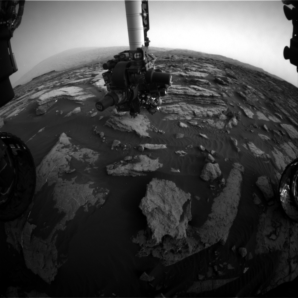 Nasa's Mars rover Curiosity acquired this image using its Front Hazard Avoidance Camera (Front Hazcam) on Sol 1474, at drive 774, site number 58