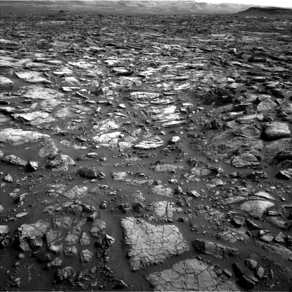 Navcam view of the rough terrain ahead