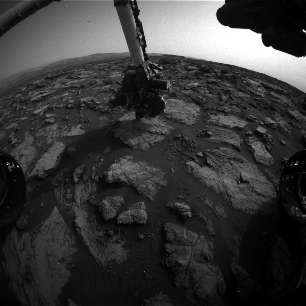 Nasa's Mars rover Curiosity acquired this image using its Front Hazard Avoidance Camera (Front Hazcam) on Sol 1477, at drive 912, site number 58