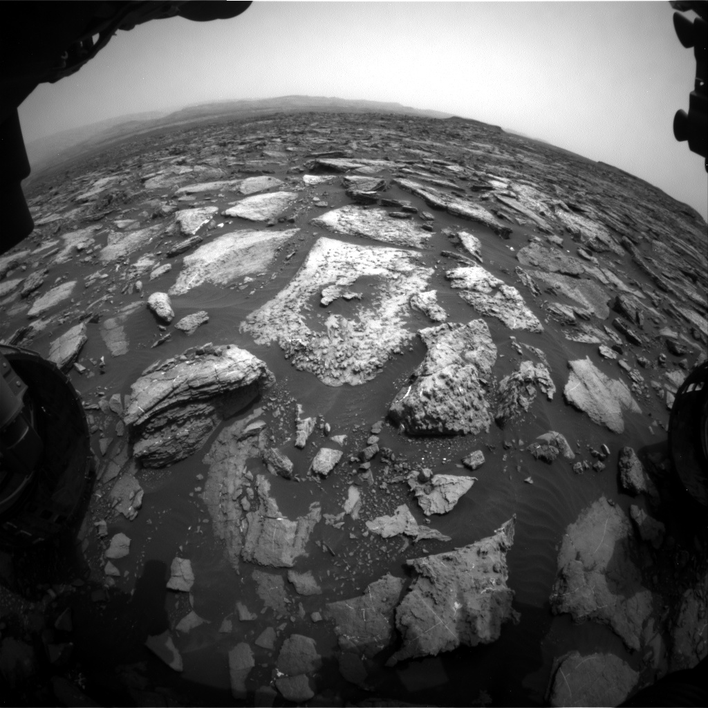 Nasa's Mars rover Curiosity acquired this image using its Front Hazard Avoidance Camera (Front Hazcam) on Sol 1478, at drive 1002, site number 58