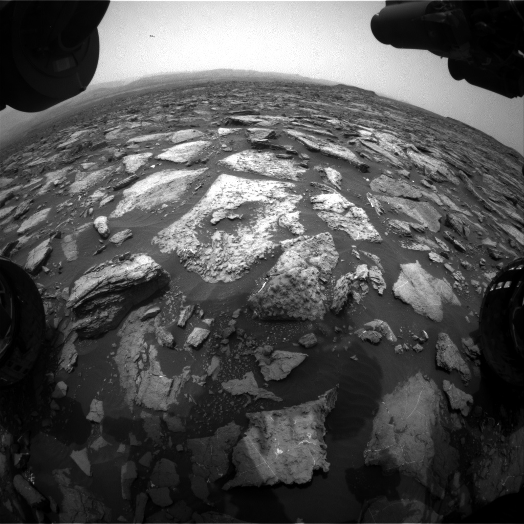 Nasa's Mars rover Curiosity acquired this image using its Front Hazard Avoidance Camera (Front Hazcam) on Sol 1479, at drive 1002, site number 58
