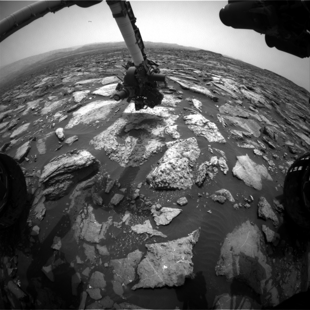 Nasa's Mars rover Curiosity acquired this image using its Front Hazard Avoidance Camera (Front Hazcam) on Sol 1480, at drive 1002, site number 58