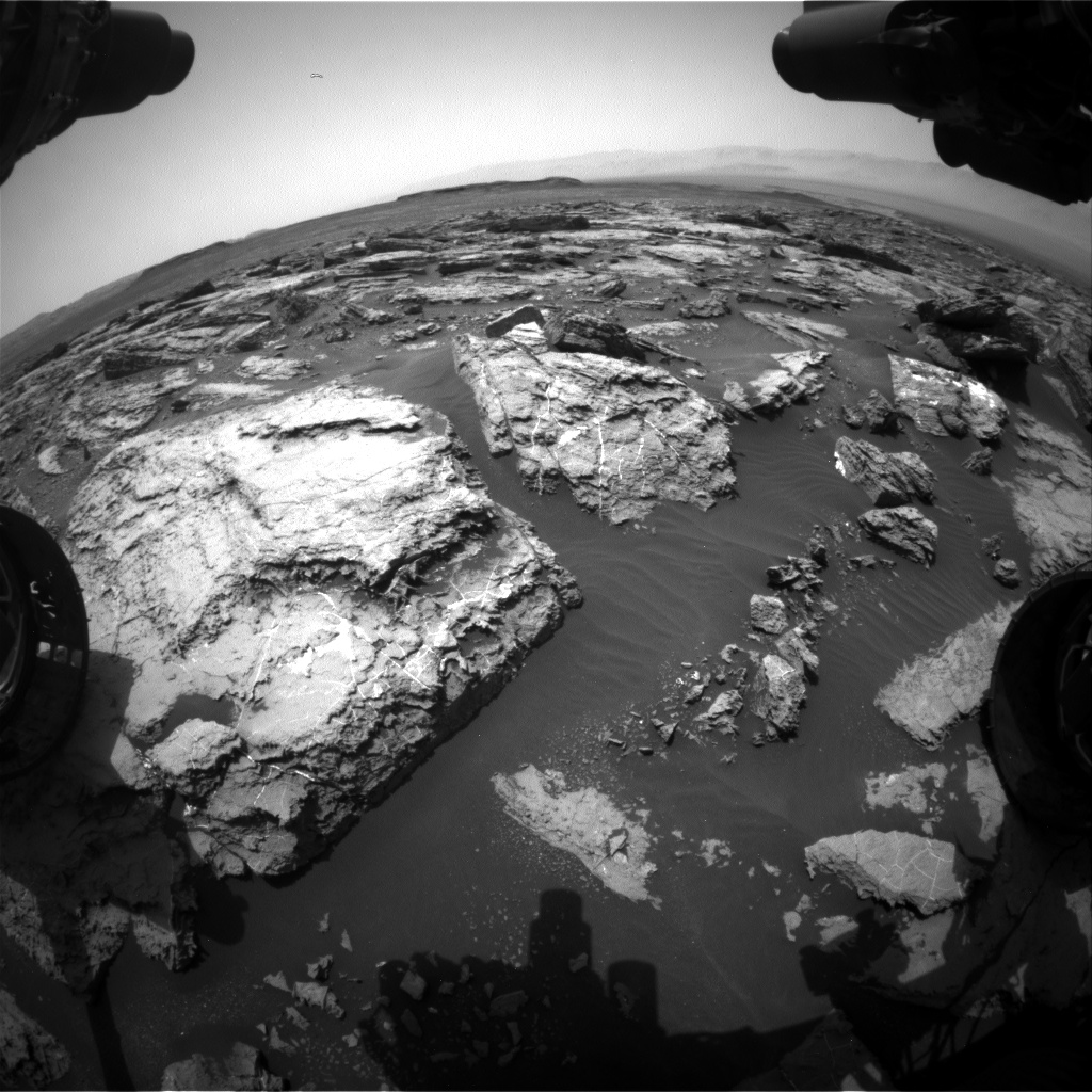 Nasa's Mars rover Curiosity acquired this image using its Front Hazard Avoidance Camera (Front Hazcam) on Sol 1488, at drive 1986, site number 58