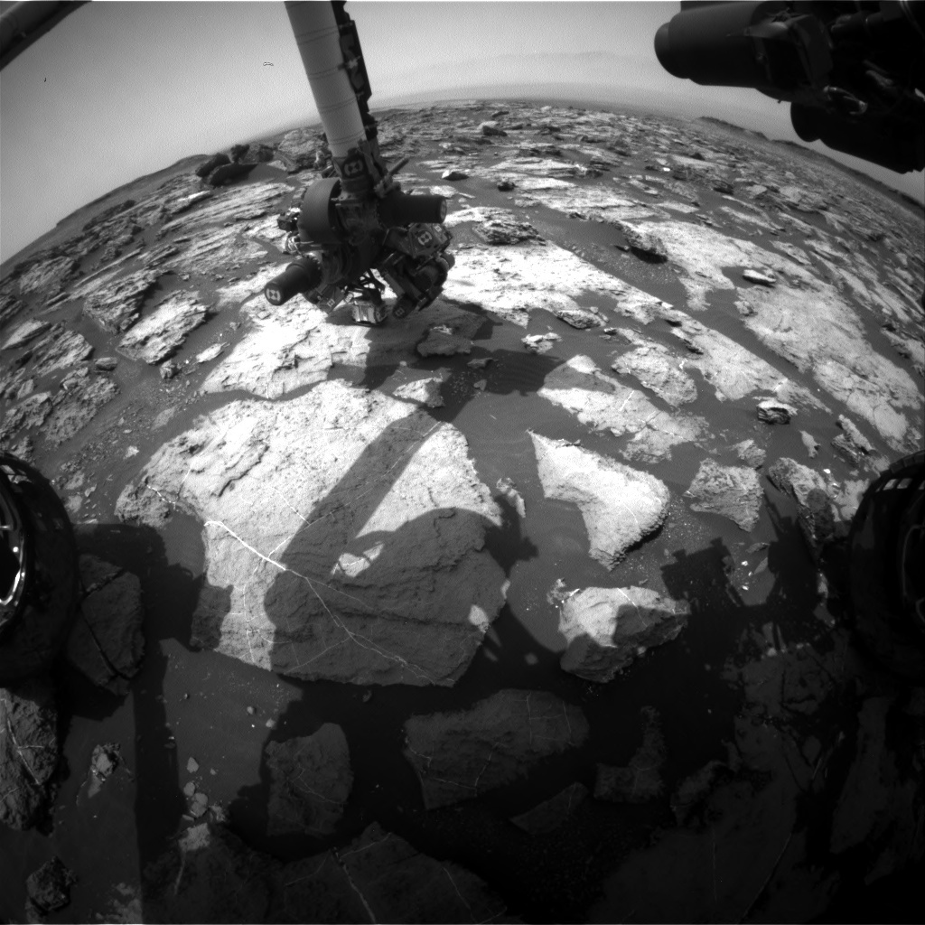 NASA's Mars rover Curiosity acquired this image using its Front Hazard Avoidance Cameras (Front Hazcams) on Sol 1492