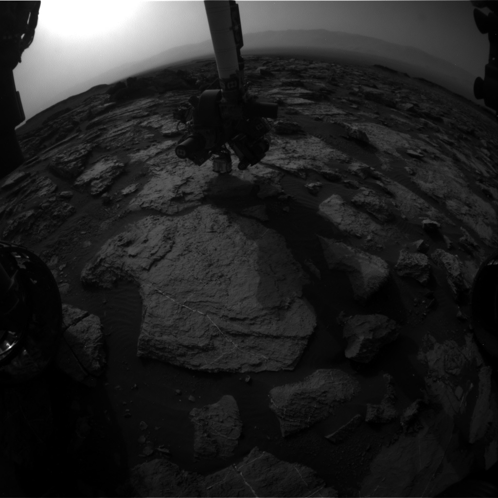 Nasa's Mars rover Curiosity acquired this image using its Front Hazard Avoidance Camera (Front Hazcam) on Sol 1497, at drive 2046, site number 58
