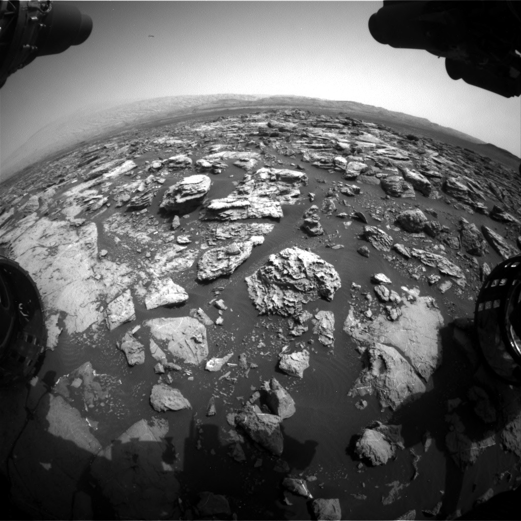 Nasa's Mars rover Curiosity acquired this image using its Front Hazard Avoidance Camera (Front Hazcam) on Sol 1501, at drive 2760, site number 58