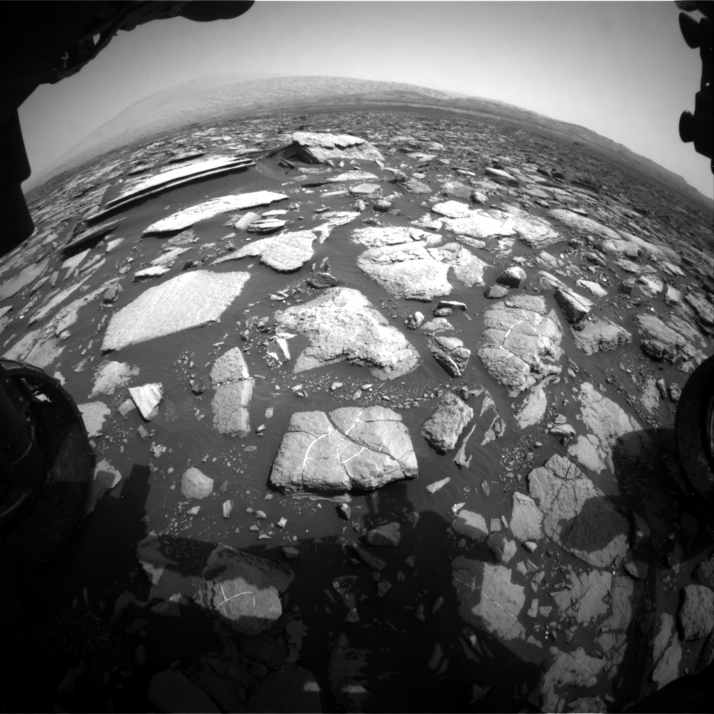 Nasa's Mars rover Curiosity acquired this image using its Front Hazard Avoidance Camera (Front Hazcam) on Sol 1502, at drive 2946, site number 58