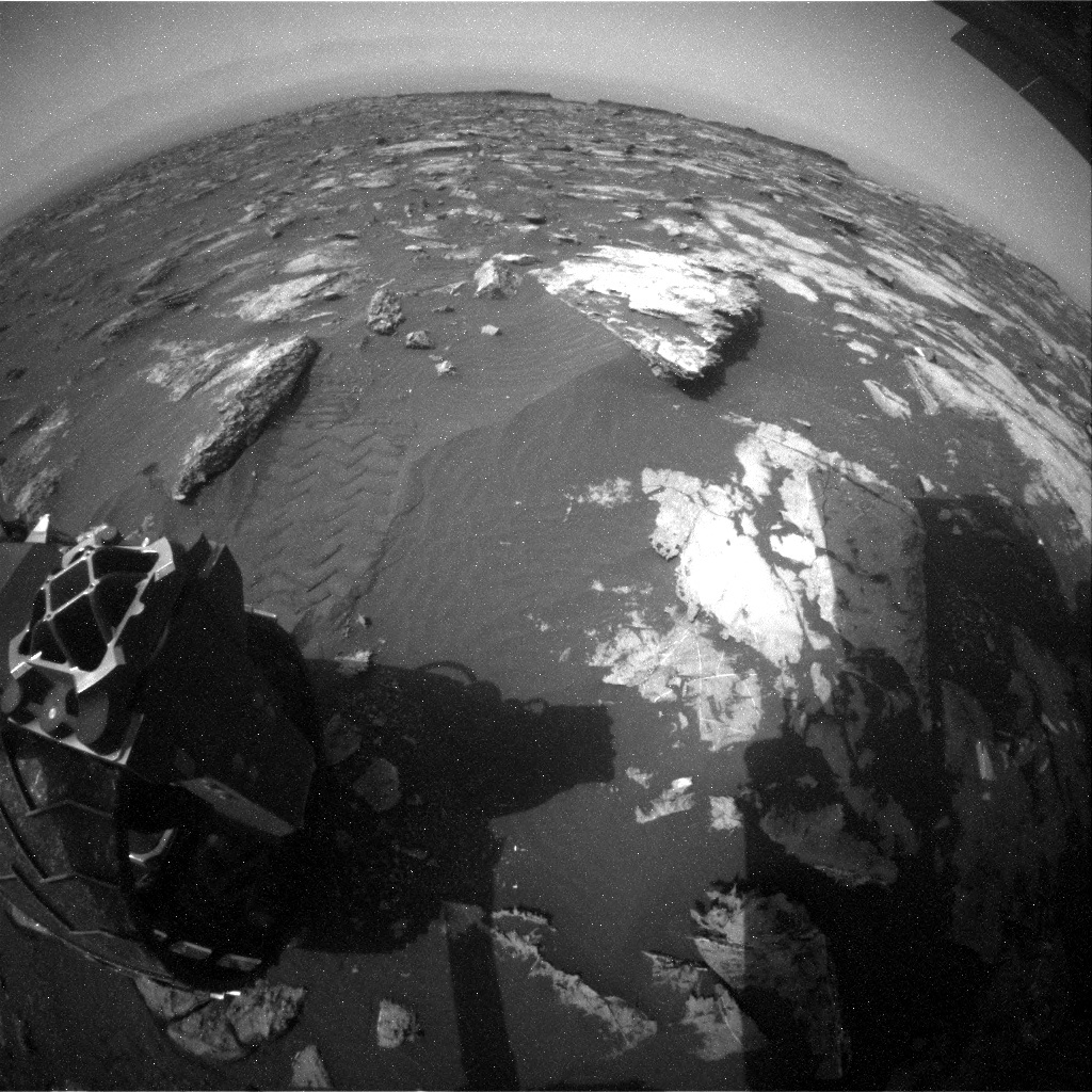 NASA's Mars rover Curiosity acquired this image using its Rear Hazard Avoidance Cameras (Rear Hazcams) on Sol 1503