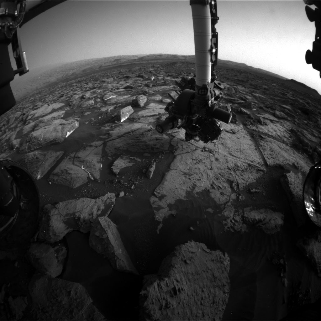 Nasa's Mars rover Curiosity acquired this image using its Front Hazard Avoidance Camera (Front Hazcam) on Sol 1504, at drive 0, site number 59