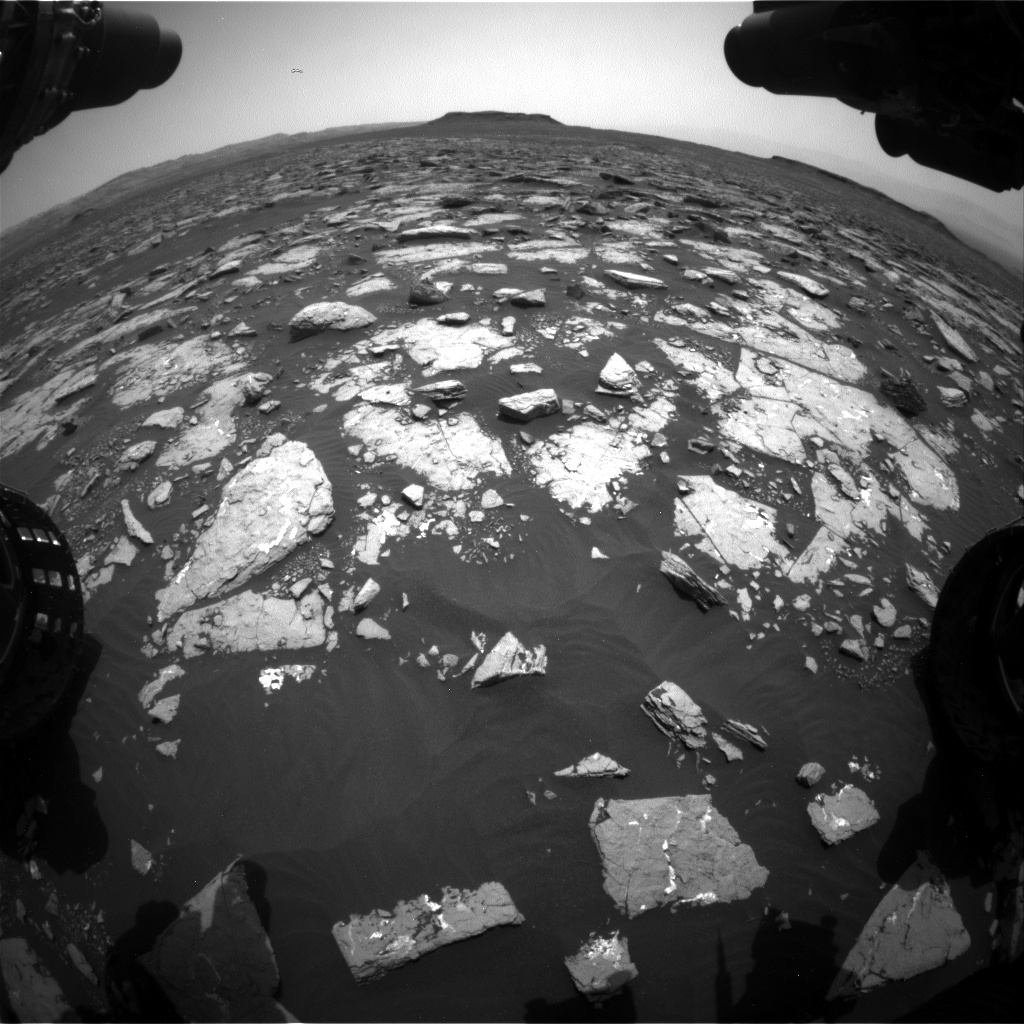 Nasa's Mars rover Curiosity acquired this image using its Front Hazard Avoidance Camera (Front Hazcam) on Sol 1508, at drive 936, site number 59