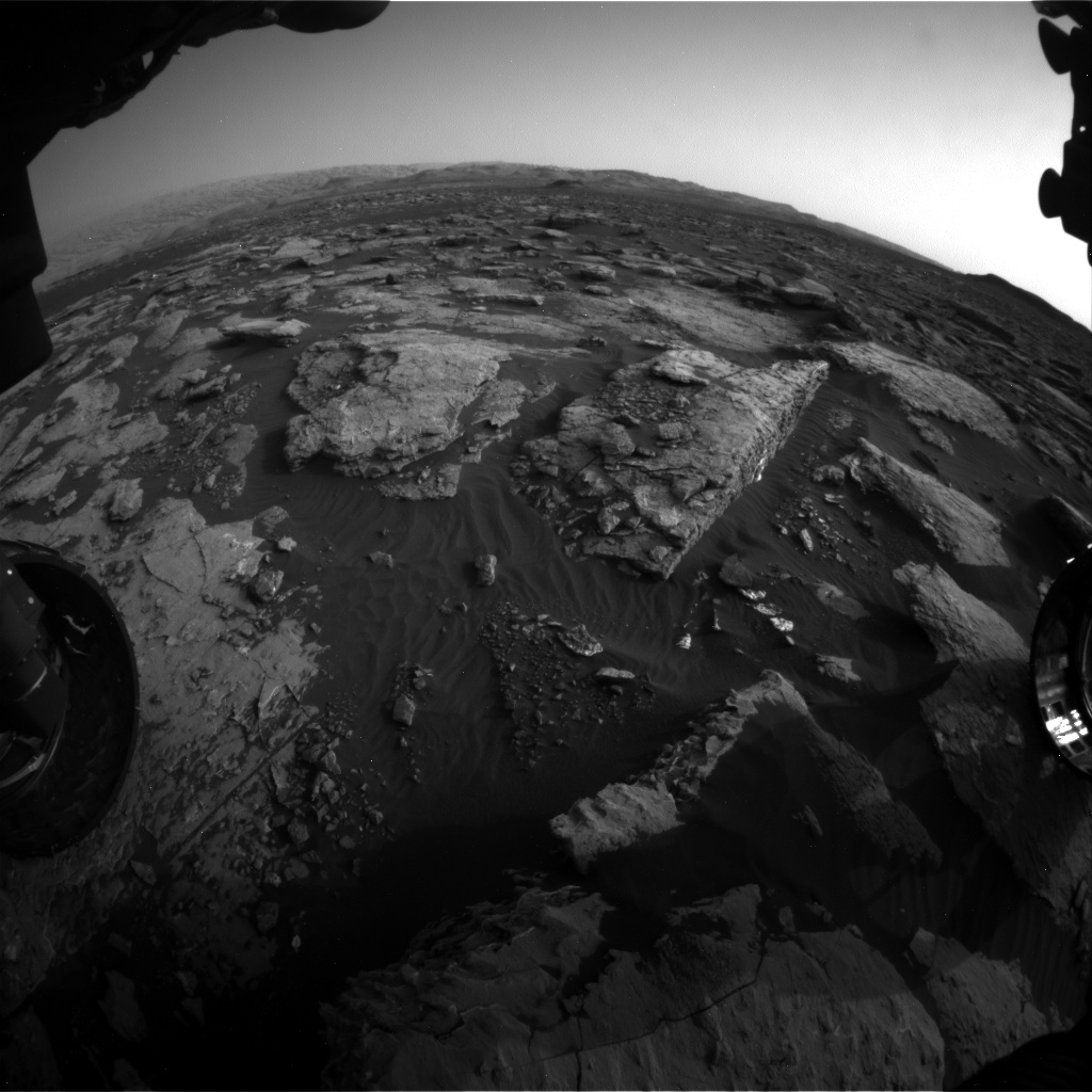 Nasa's Mars rover Curiosity acquired this image using its Front Hazard Avoidance Camera (Front Hazcam) on Sol 1512, at drive 1596, site number 59