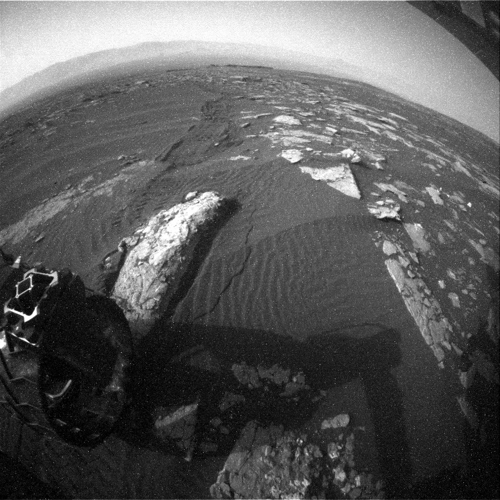 NASA's Mars rover Curiosity acquired this image using its Rear Hazard Avoidance Cameras (Rear Hazcams) on Sol 1514
