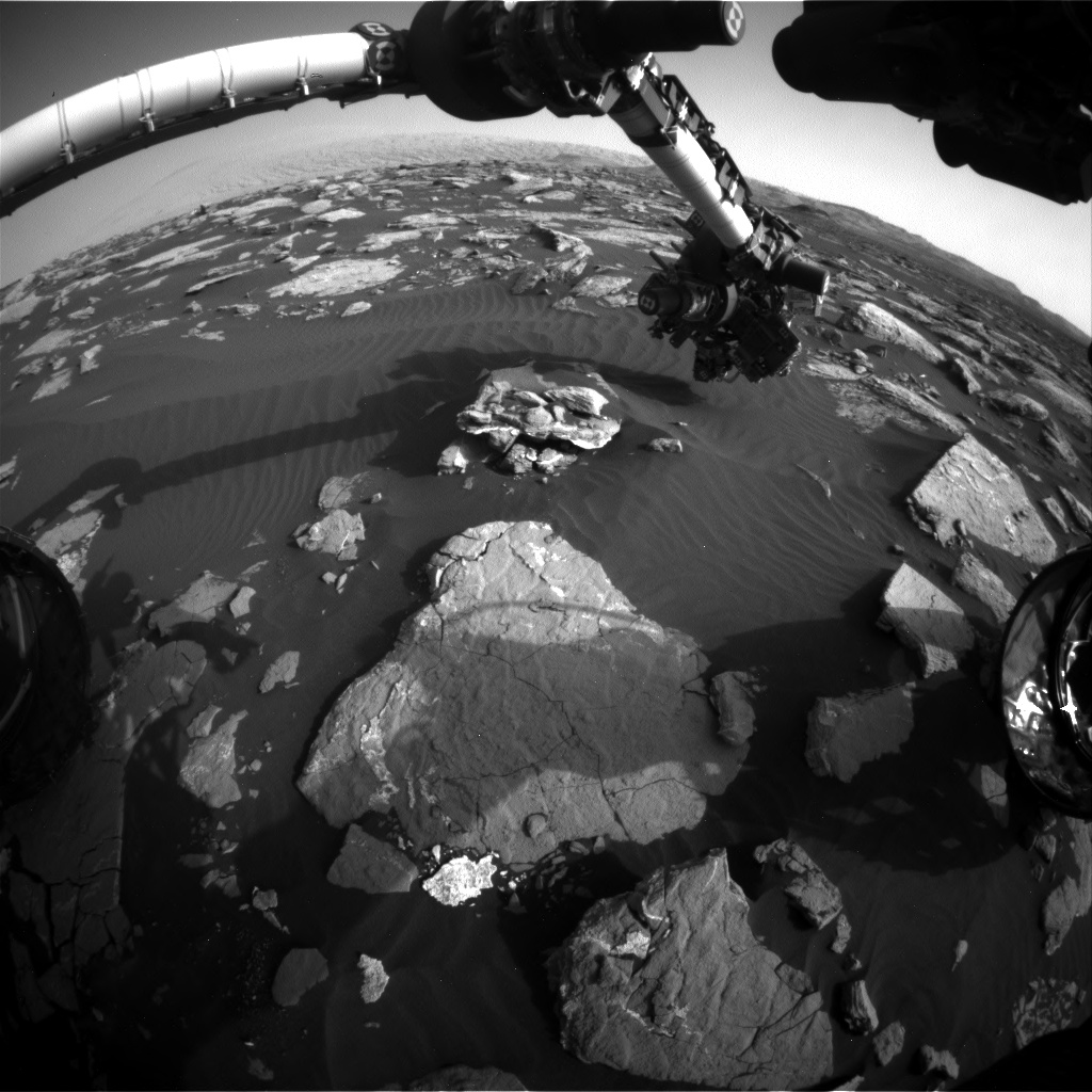 Nasa's Mars rover Curiosity acquired this image using its Front Hazard Avoidance Camera (Front Hazcam) on Sol 1518, at drive 2242, site number 59