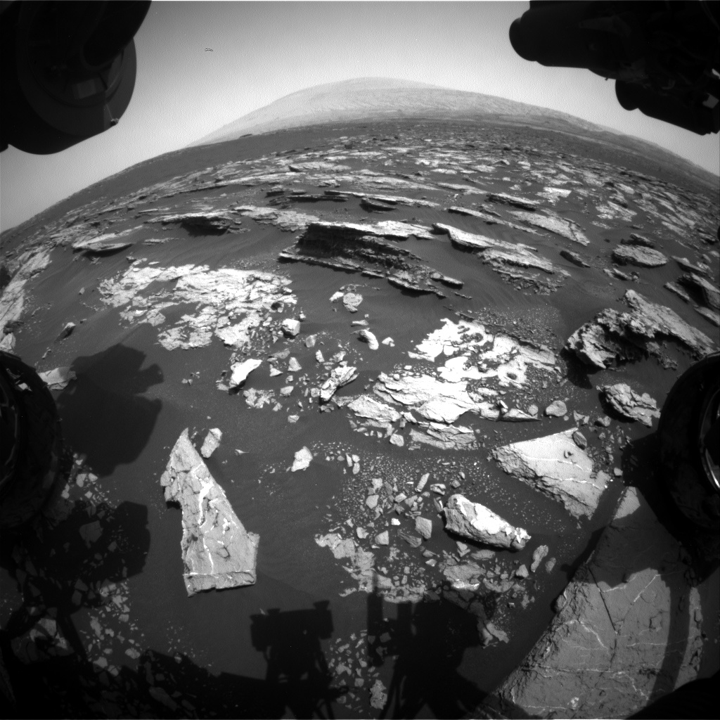 Nasa's Mars rover Curiosity acquired this image using its Front Hazard Avoidance Camera (Front Hazcam) on Sol 1522, at drive 2668, site number 59