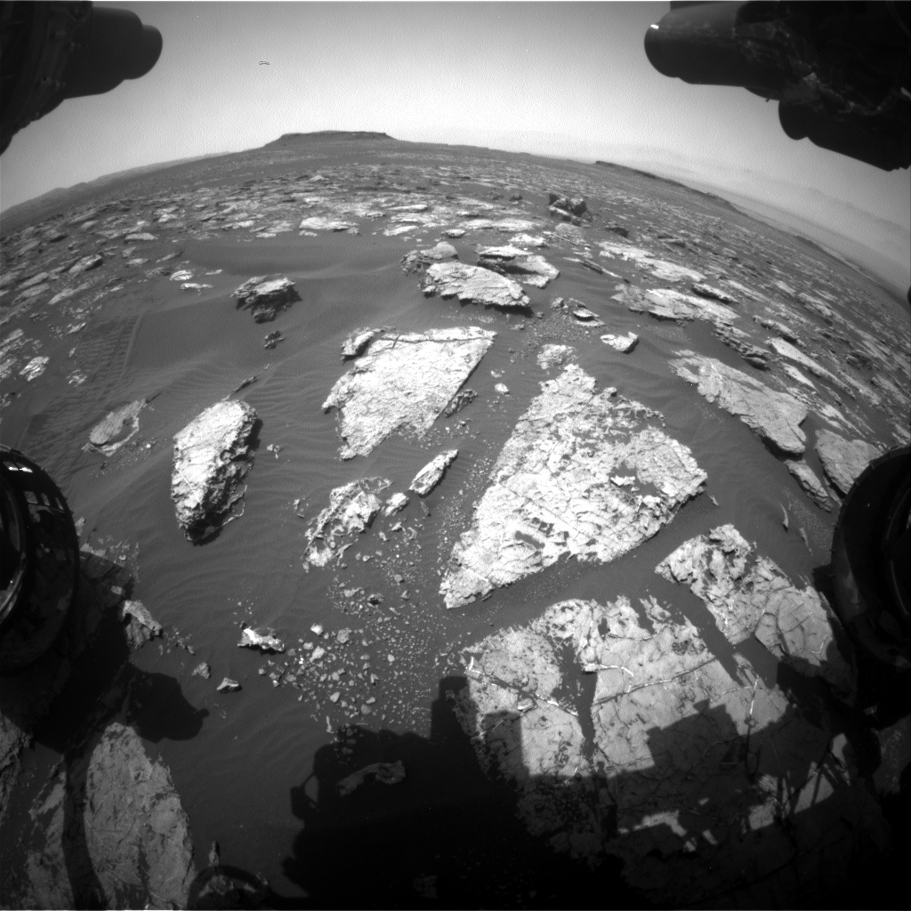 Nasa's Mars rover Curiosity acquired this image using its Front Hazard Avoidance Camera (Front Hazcam) on Sol 1553, at drive 3004, site number 59
