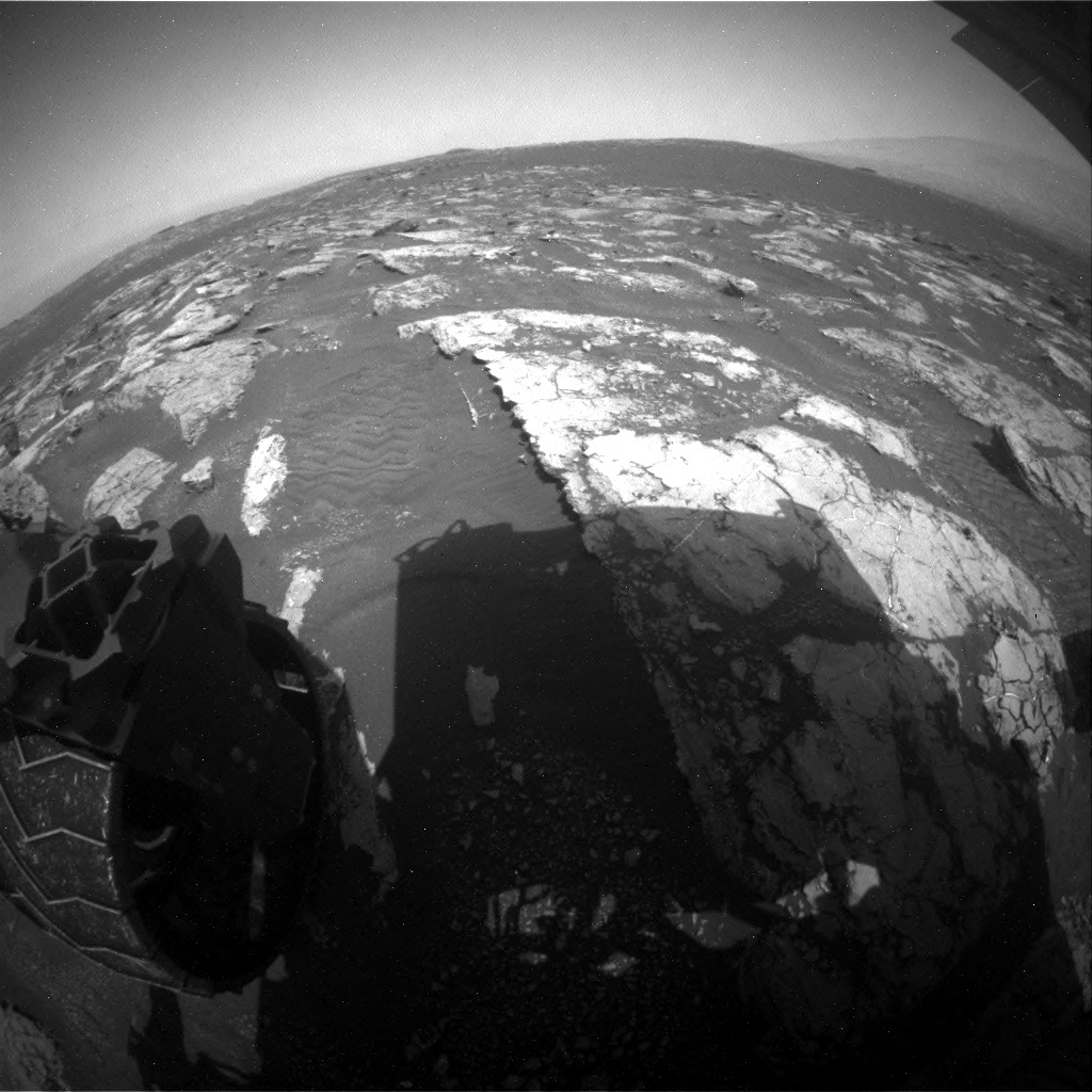 NASA's Mars rover Curiosity acquired this image using its Rear Hazard Avoidance Cameras (Rear Hazcams) on Sol 1553