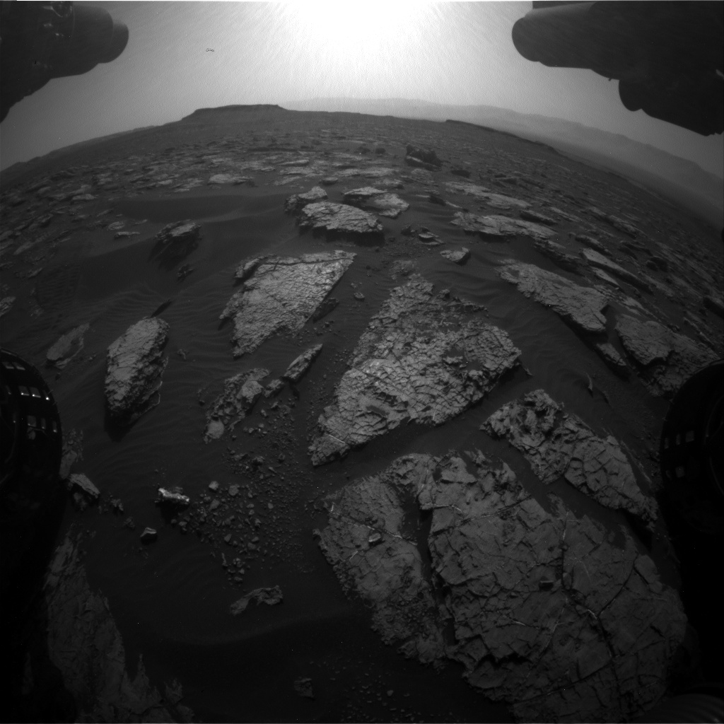 Nasa's Mars rover Curiosity acquired this image using its Front Hazard Avoidance Camera (Front Hazcam) on Sol 1555, at drive 3016, site number 59