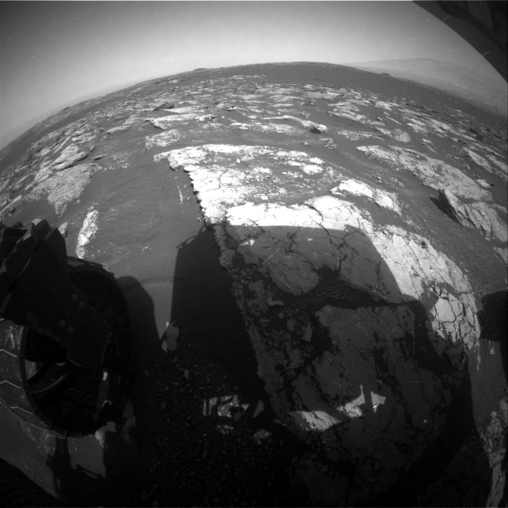 NASA's Mars rover Curiosity acquired this image using its Rear Hazard Avoidance Cameras (Rear Hazcams) on Sol 1557