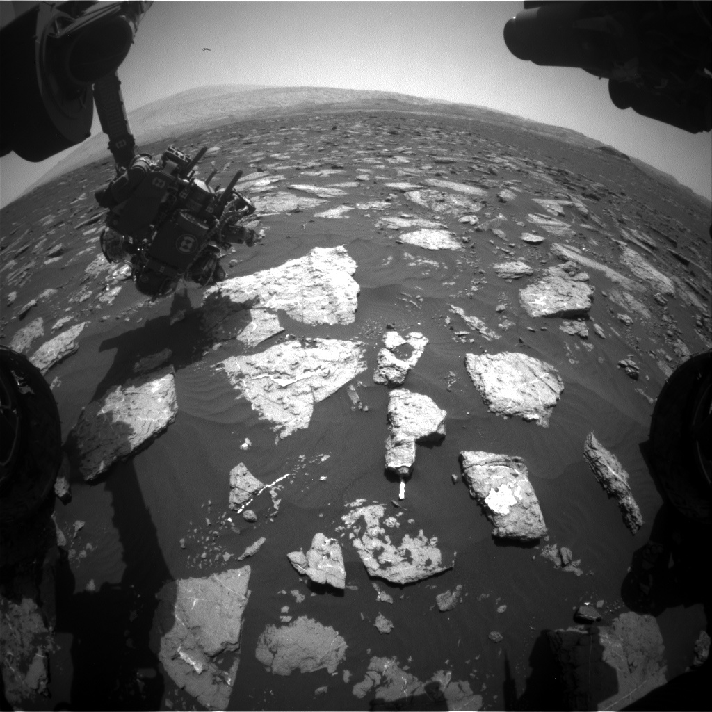 Nasa's Mars rover Curiosity acquired this image using its Front Hazard Avoidance Camera (Front Hazcam) on Sol 1575, at drive 180, site number 60