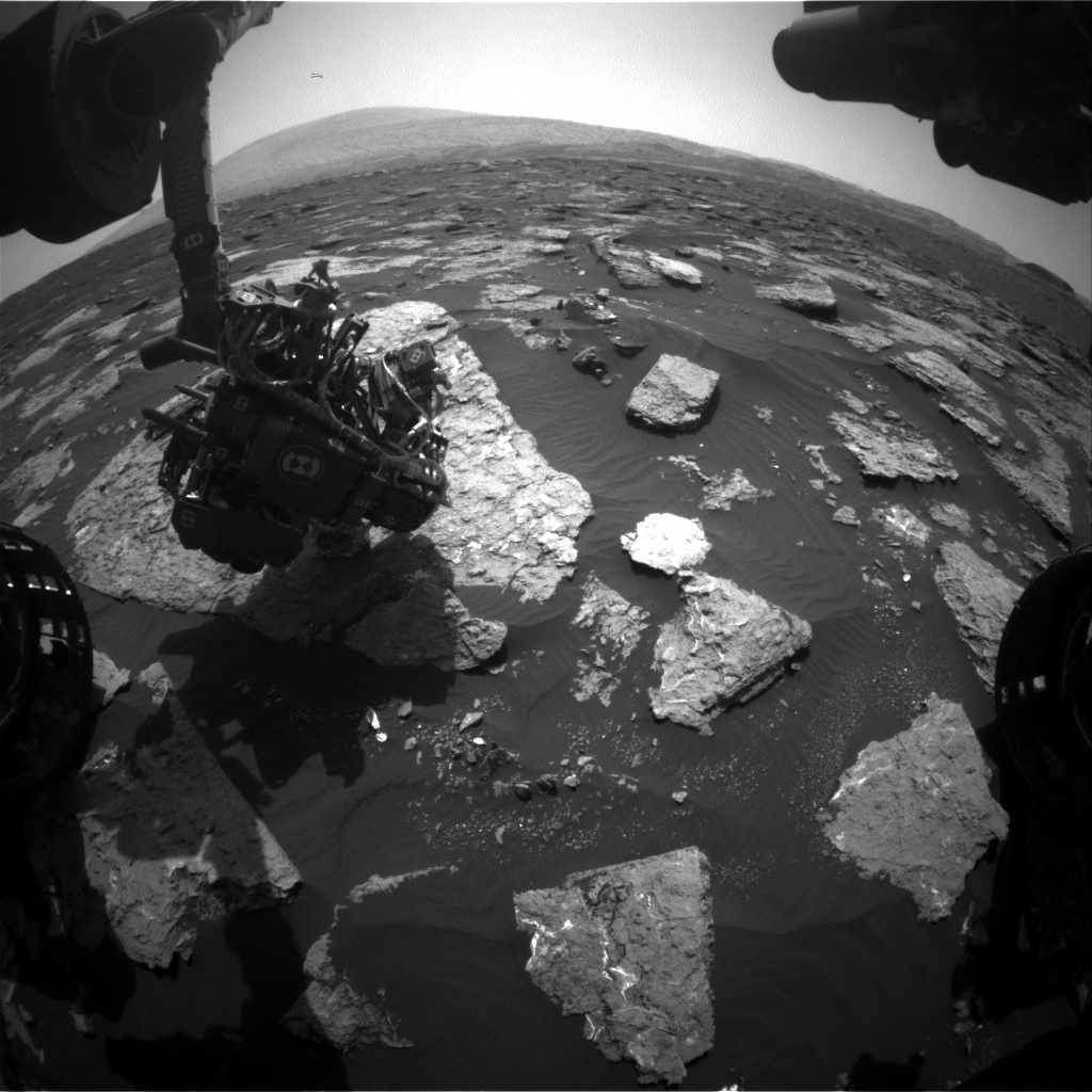 Nasa's Mars rover Curiosity acquired this image using its Front Hazard Avoidance Camera (Front Hazcam) on Sol 1577, at drive 396, site number 60