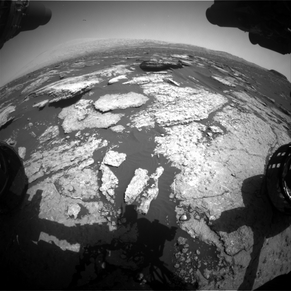 Nasa's Mars rover Curiosity acquired this image using its Front Hazard Avoidance Camera (Front Hazcam) on Sol 1577, at drive 684, site number 60
