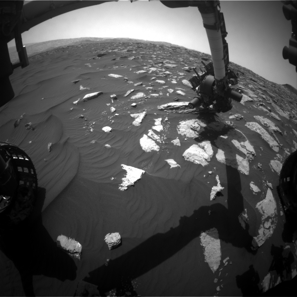 Nasa's Mars rover Curiosity acquired this image using its Front Hazard Avoidance Camera (Front Hazcam) on Sol 1585, at drive 1650, site number 60