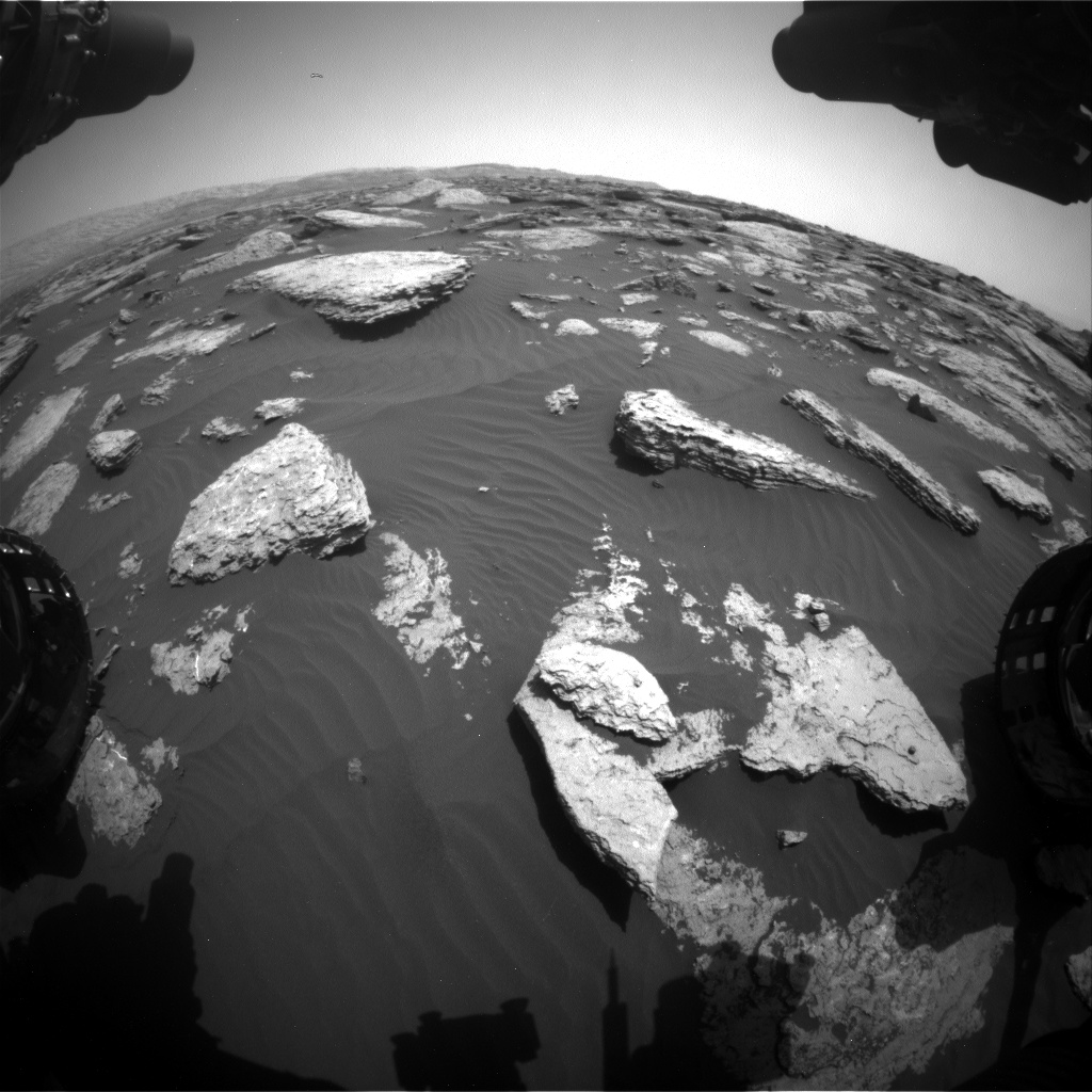 Nasa's Mars rover Curiosity acquired this image using its Front Hazard Avoidance Camera (Front Hazcam) on Sol 1587, at drive 2010, site number 60
