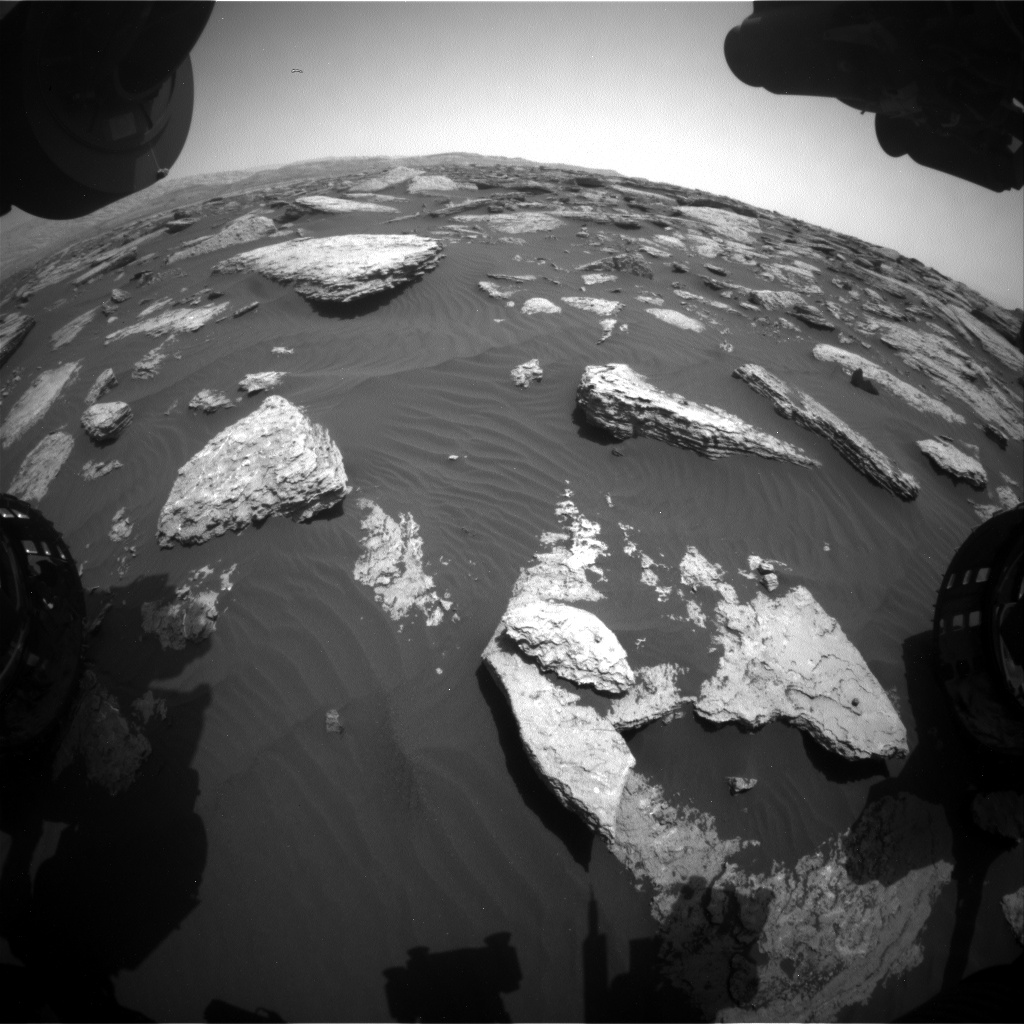 Nasa's Mars rover Curiosity acquired this image using its Front Hazard Avoidance Camera (Front Hazcam) on Sol 1588, at drive 2010, site number 60