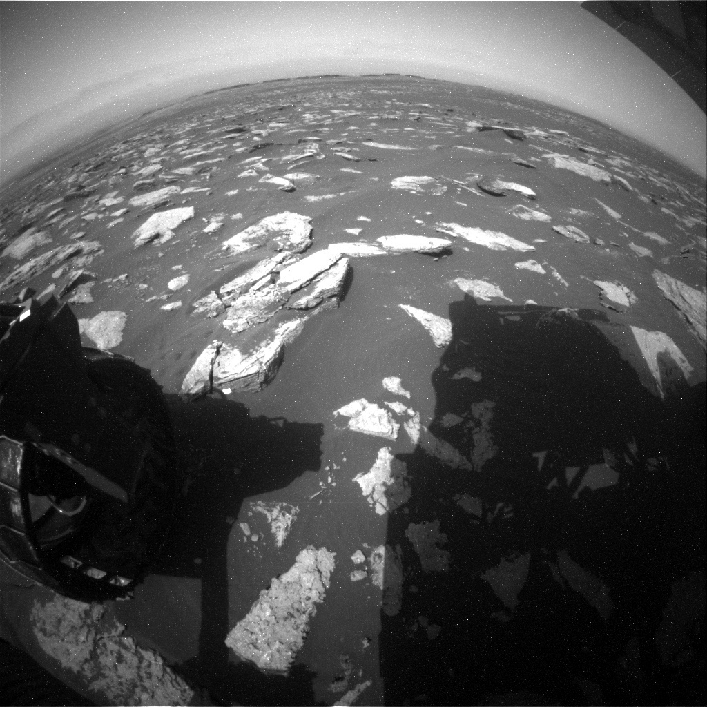 NASA's Mars rover Curiosity acquired this image using its Rear Hazard Avoidance Cameras (Rear Hazcams) on Sol 1588
