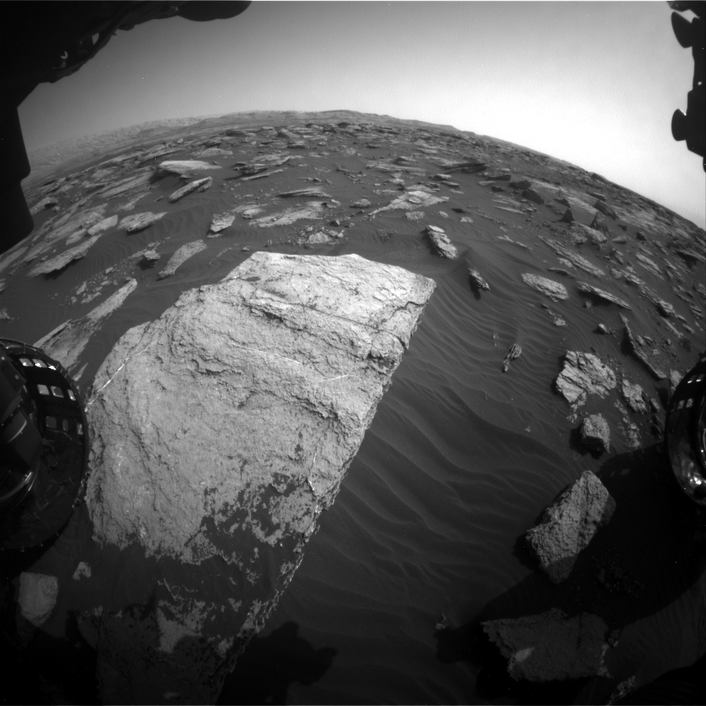 Nasa's Mars rover Curiosity acquired this image using its Front Hazard Avoidance Camera (Front Hazcam) on Sol 1589, at drive 2256, site number 60