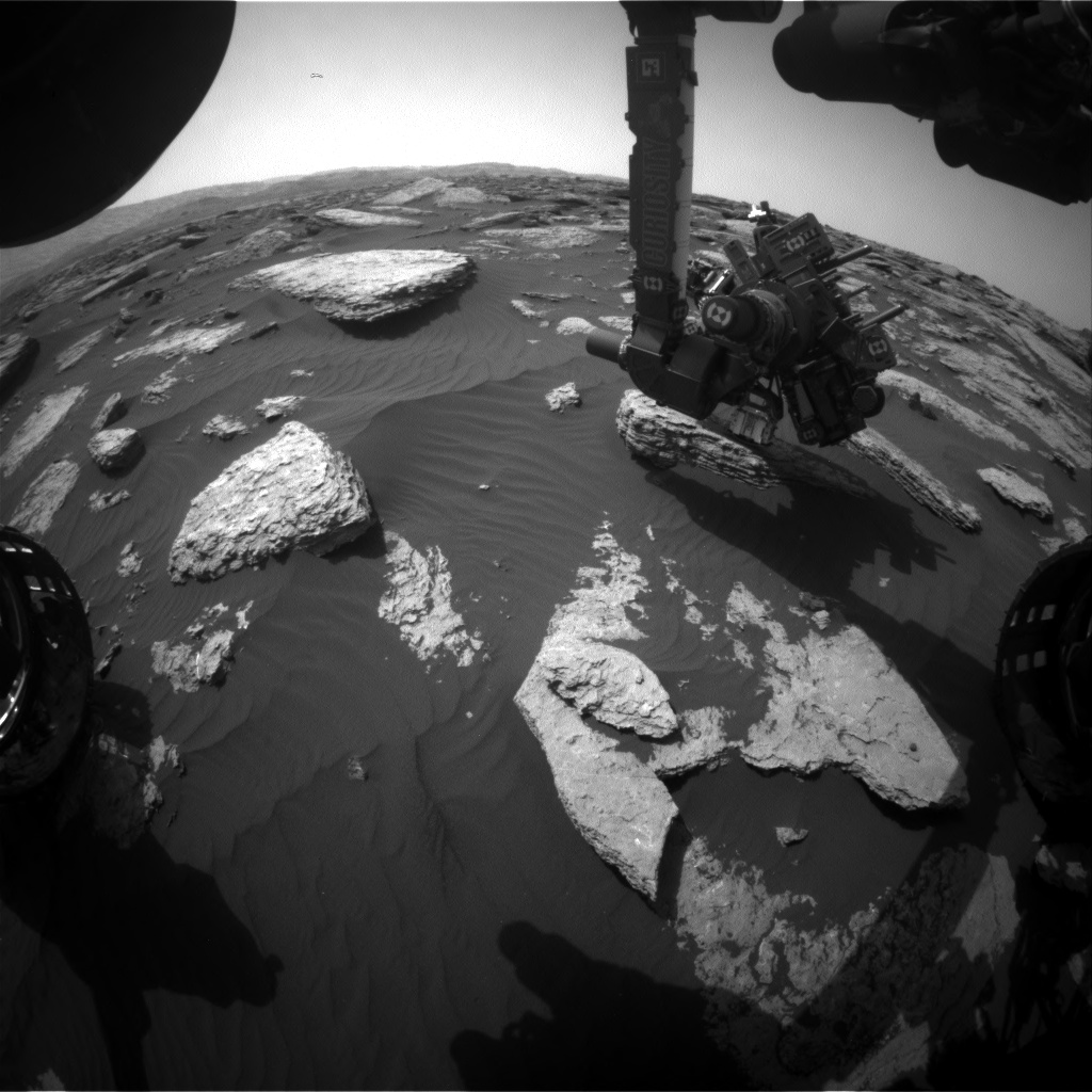 Nasa's Mars rover Curiosity acquired this image using its Front Hazard Avoidance Camera (Front Hazcam) on Sol 1589, at drive 2010, site number 60