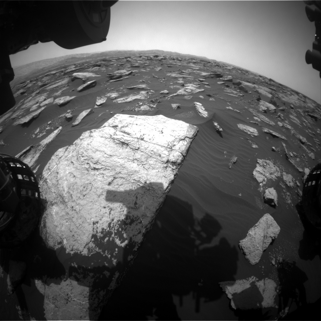 Nasa's Mars rover Curiosity acquired this image using its Front Hazard Avoidance Camera (Front Hazcam) on Sol 1590, at drive 2256, site number 60