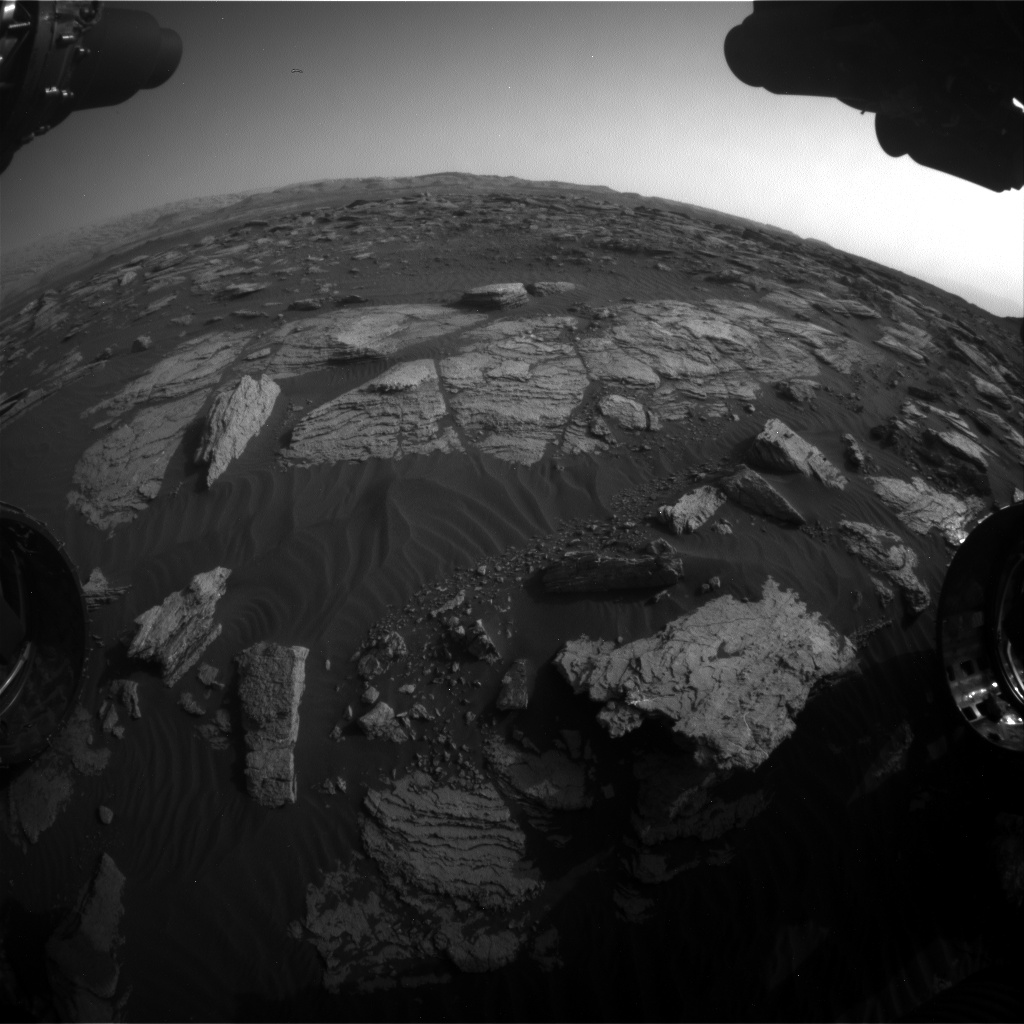 Nasa's Mars rover Curiosity acquired this image using its Front Hazard Avoidance Camera (Front Hazcam) on Sol 1591, at drive 2346, site number 60
