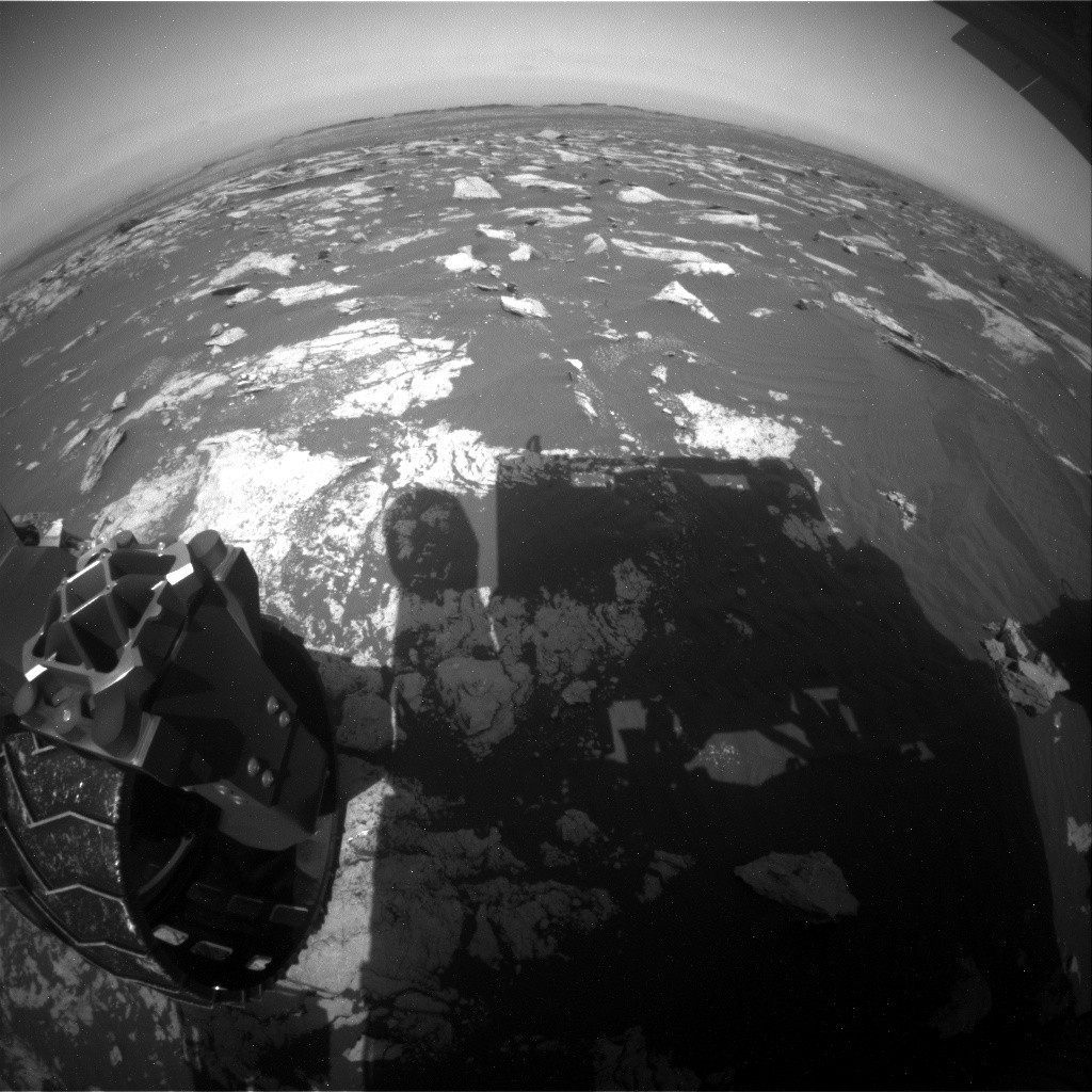 NASA's Mars rover Curiosity acquired this image using its Rear Hazard Avoidance Cameras (Rear Hazcams) on Sol 1592