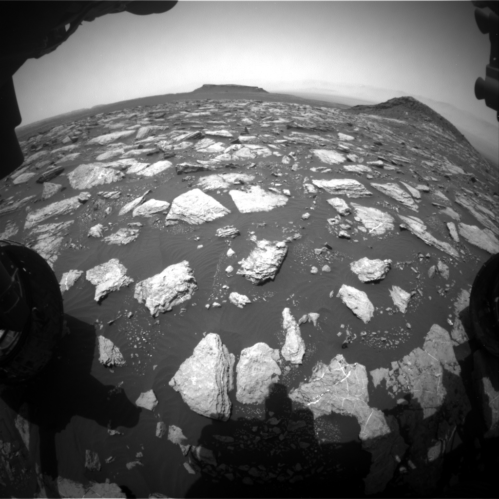 Nasa's Mars rover Curiosity acquired this image using its Front Hazard Avoidance Camera (Front Hazcam) on Sol 1594, at drive 2574, site number 60