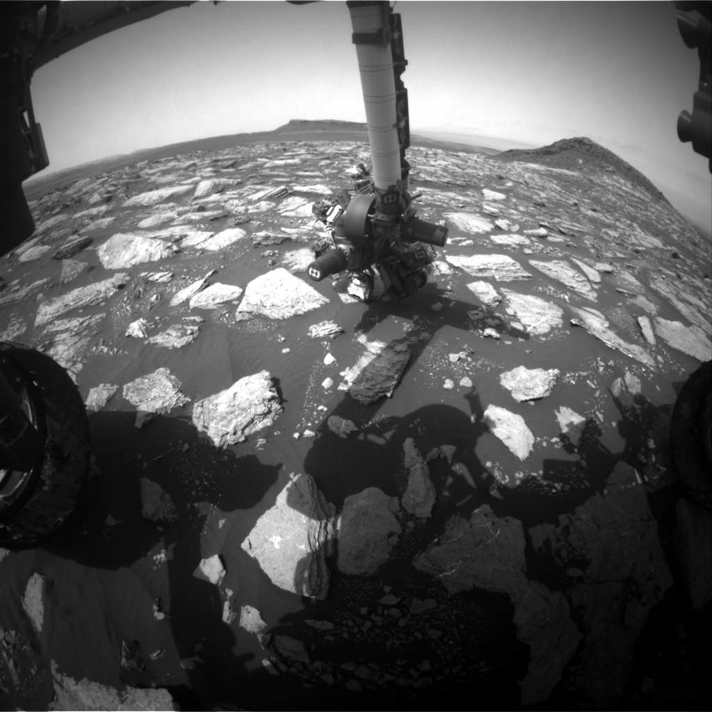 NASA's Mars rover Curiosity acquired this image using its Front Hazard Avoidance Cameras (Front Hazcams) on Sol 1596