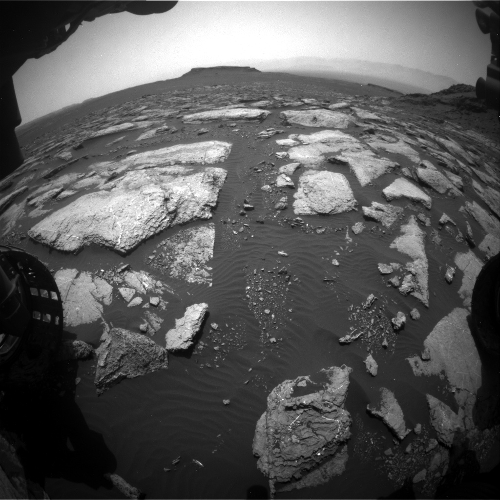 Nasa's Mars rover Curiosity acquired this image using its Front Hazard Avoidance Camera (Front Hazcam) on Sol 1596, at drive 2730, site number 60