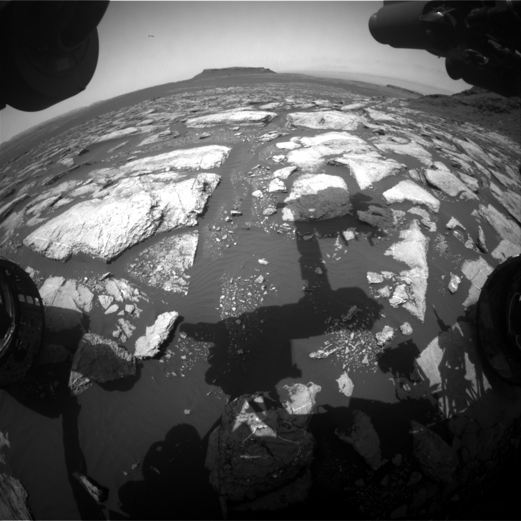 Nasa's Mars rover Curiosity acquired this image using its Front Hazard Avoidance Camera (Front Hazcam) on Sol 1597, at drive 2730, site number 60