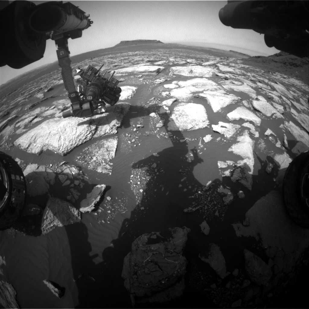 Nasa's Mars rover Curiosity acquired this image using its Front Hazard Avoidance Camera (Front Hazcam) on Sol 1598, at drive 2730, site number 60
