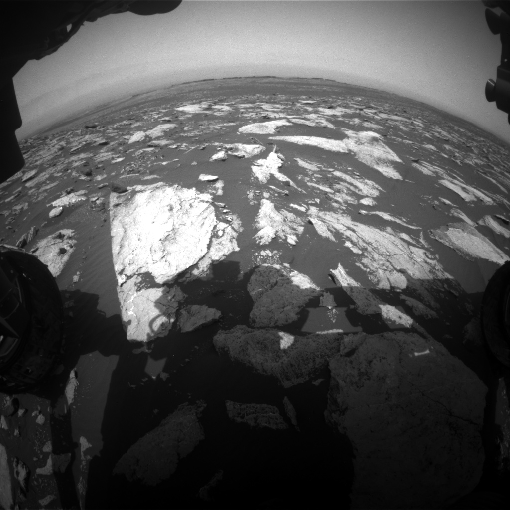 Nasa's Mars rover Curiosity acquired this image using its Front Hazard Avoidance Camera (Front Hazcam) on Sol 1605, at drive 156, site number 61