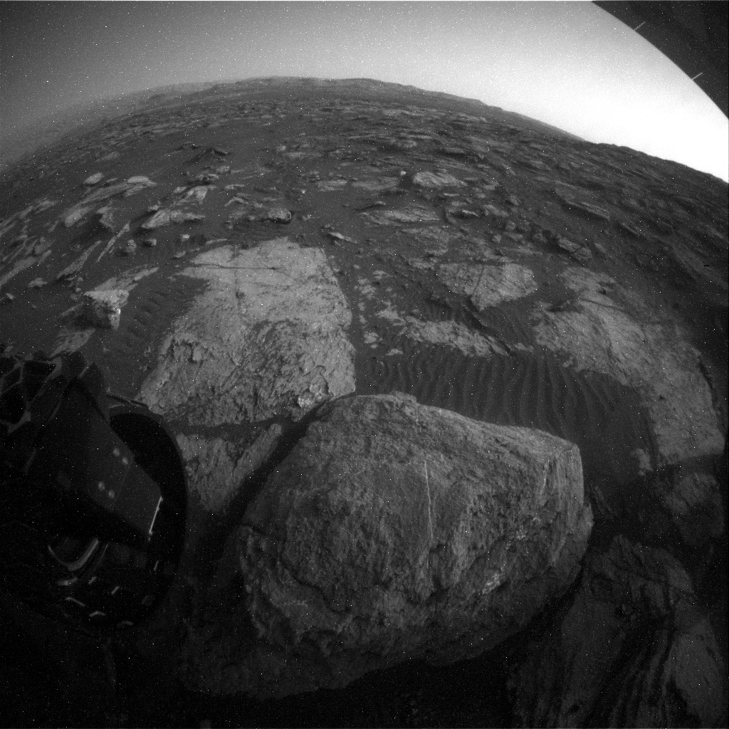 NASA's Mars rover Curiosity acquired this image using its Rear Hazard Avoidance Cameras (Rear Hazcams) on Sol 1606