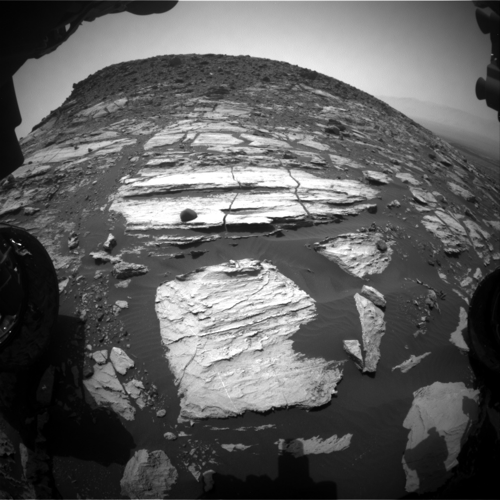 Nasa's Mars rover Curiosity acquired this image using its Front Hazard Avoidance Camera (Front Hazcam) on Sol 1608, at drive 252, site number 61