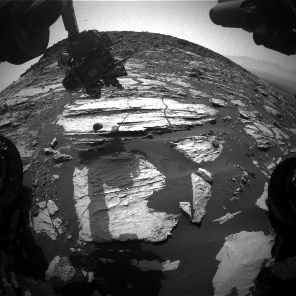 Nasa's Mars rover Curiosity acquired this image using its Front Hazard Avoidance Camera (Front Hazcam) on Sol 1609, at drive 252, site number 61
