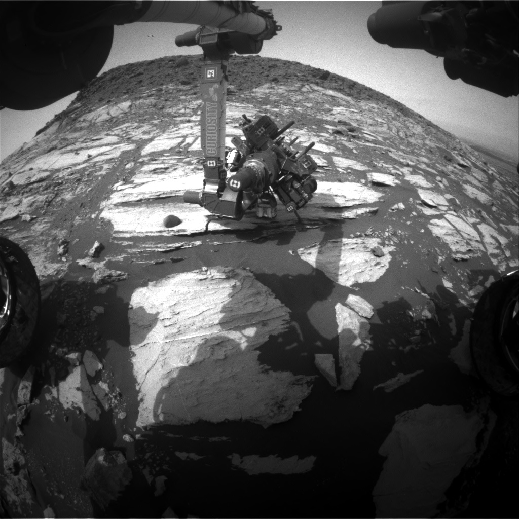 Nasa's Mars rover Curiosity acquired this image using its Front Hazard Avoidance Camera (Front Hazcam) on Sol 1610, at drive 252, site number 61