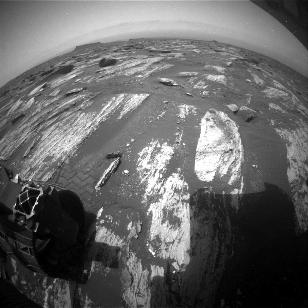 NASA's Mars rover Curiosity acquired this image using its Rear Hazard Avoidance Cameras (Rear Hazcams) on Sol 1684