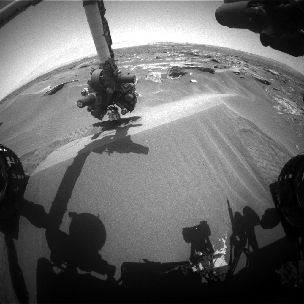 Nasa's Mars rover Curiosity acquired this image using its Front Hazard Avoidance Camera (Front Hazcam) on Sol 1689, at drive 3350, site number 62