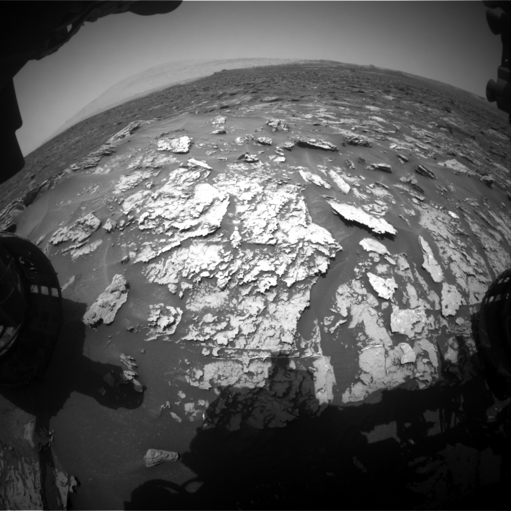 Nasa's Mars rover Curiosity acquired this image using its Front Hazard Avoidance Camera (Front Hazcam) on Sol 1697, at drive 766, site number 63