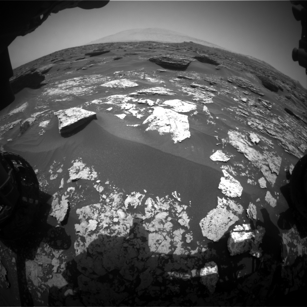Nasa's Mars rover Curiosity acquired this image using its Front Hazard Avoidance Camera (Front Hazcam) on Sol 1706, at drive 1636, site number 63